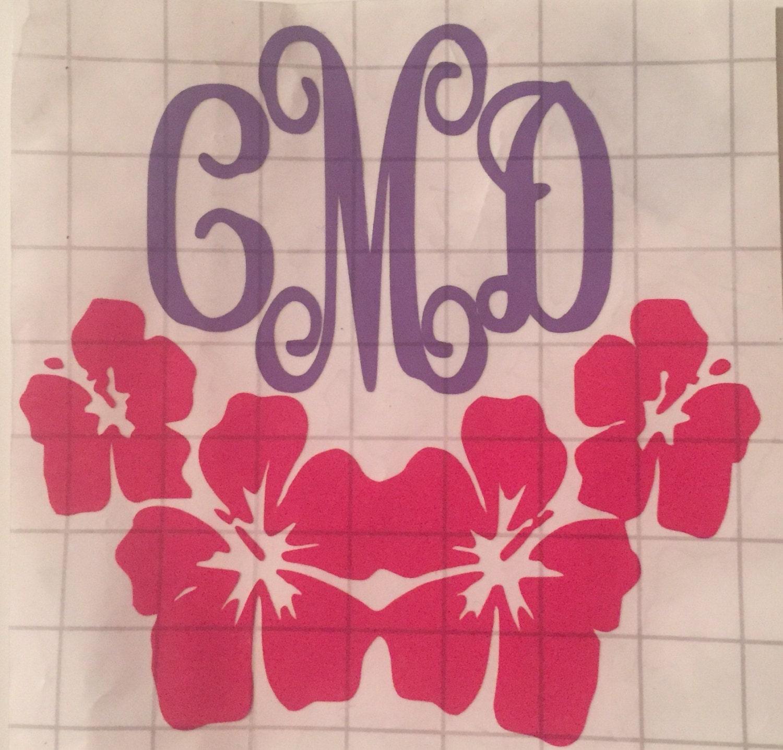 Shop Floral Monograms At Littlebrownnest Etsy Com: Monogram Flower Vinyl Decal By LulaBelleBoutique4 On Etsy