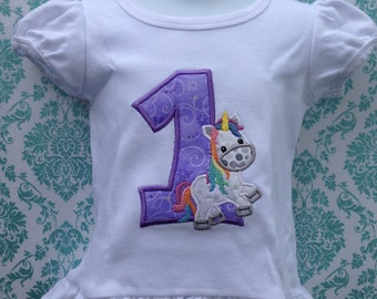Unicorn first birthday shirt