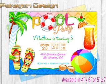 Swim Party / Pool Party - Custom Birthday Invitation - DIY Printable Digital PDF File (129)