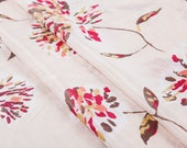 Silk blend cotton fabric, floral pattern, ink printing, light pink, summer, sew for top, shirt, skirt, craft by the yard