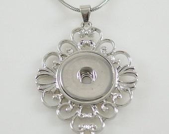 Clearance ~ KB3361  Large Silver Filigree Pendant for Snap-It/Ginger Charms ~ With or Without Chain