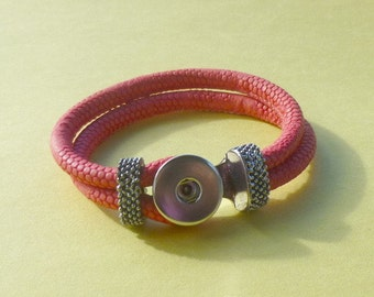 Coral Genuine Leather Double Strap Braided Bracelet for Snap It Chunk Charms