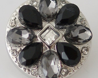 KB8010  Black, Gray and Crystal Flower Set in Silver