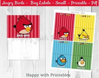 Angry Birds Bag label - Angry Birds treat bag label - SMALL - Angry Birds Party - Angry Birds goodie label - Angry Birds printable - Angry B