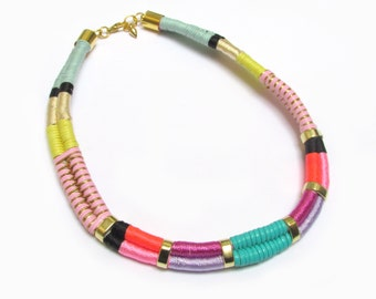 Chocker necklace Tribal Inspired Wrapped rope necklace Edgy necklace Bold necklace Geometric necklace Cord necklace