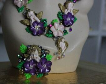 Baroque  3D Effect Victorian Cherub Purple Flower Cuff Bracelet Bangle