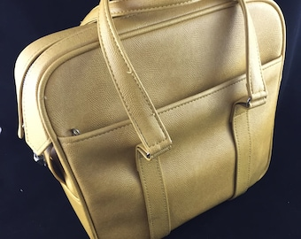 Vintage Samsonite Silhouette Gold Overnight Bag, Tote, Carry On Bag