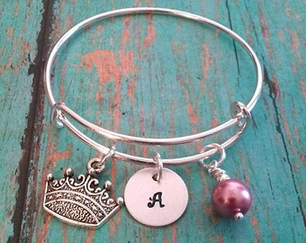 Child's Expandable Bangle Bracelet - Crown - Tiara - Personalized - Gift for Little Girls - Little Girl Gift - Birthday Gift for a Girl