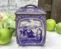 Antique Blue Delft Tin Litho Canister Box, C.W.S. Biscuits, Dutch Holland Storage jar, Blue white, Angelus, Gleaners, biscuit barrel