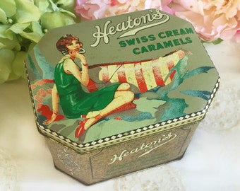 Vintage Heaton's Art Deco Flapper Tin Box, Swiss Caramels candy canister, Advertising, Daher, England, Pin-up Lady Woman, decorative storage