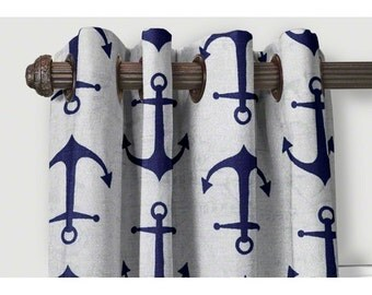 Blue Anchor Curatins⋘  Curtains SALE  ⋘ Choose your length  Custom made Drapes