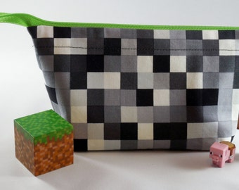 FREE SHIPPING! Minecraft Small kids multi-purpose bag, Fabric bag, pencil case, baby toiletry bag, wide open zipper pouch, machine washable.