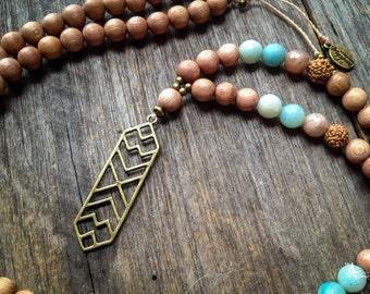 8mm Stone Mala beads japa meditation 108 mantra yoga jewelry - Synergy Flow  -  inspired jewelry by Mariposa Zen boho necklace bracelet