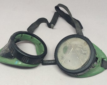 Vintage Safety Goggles Steampunk Style Welding Worn Project Craft Cosplay Costume Use Green