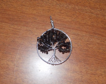 Smoky Quartz tree of life pendant