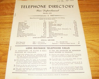 Vintage 1947 War Department Telephone Directory Military Phone Book