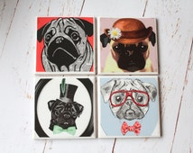 Pug Coaster set/ Dogs Home wear/ Pug Lover gift/ Animal Ceramic coasters