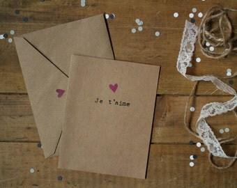 Valentine Card : «Je t'aime» - Purple heart