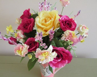 Flowers, Centerpiece, Pink Ceramic Cup, Heart Design, Summer Floral, Dark Pink,Yellow Roses, Lavender Filler, Pink and Yellow Paper Flowers
