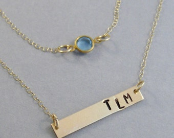 Gold Bar and Birthstone,Bar Necklace,Birthstone,Initial Necklace,Monogram,Layered necklace,Layered,Birthstone Jewelry,Necklace set,sterlin