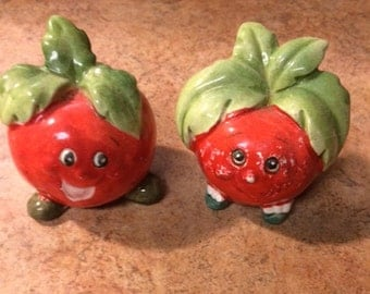 Anthropomorphic Tomato Salt and Pepper Shakers