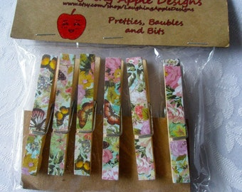 Decorated Clothes Pin Refrigerator Magnets