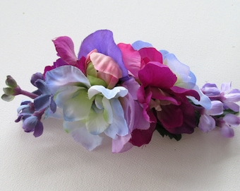 Fascinator made with pastel colour flowers, Purple, blue and pink flower barrette, bridal fascinator, wedding flowers, special occasion hair