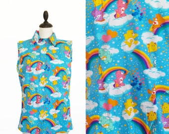 Care Bears Blouse - Care Bears Shirt - CareBears Blouse - Fun Shirt - Care Bear Vintage Womens Shirt - Care Bears Print - Care Bears Top