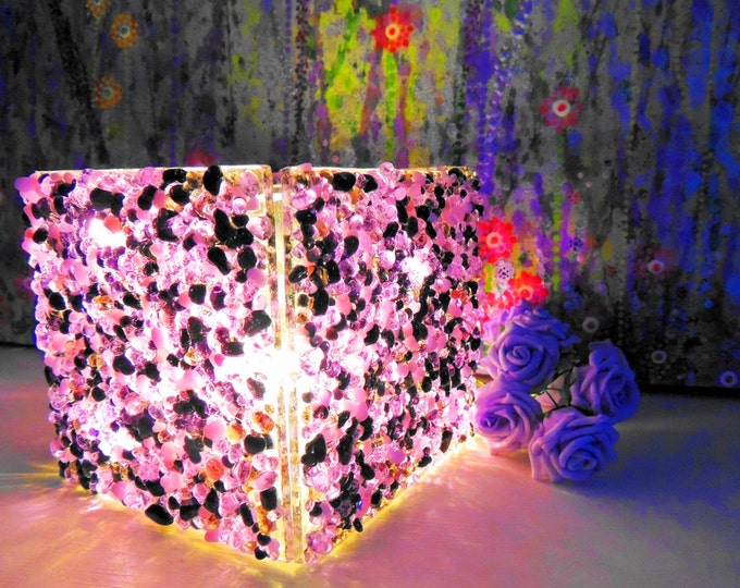 Purple lilac translucent fused glass LED, candle tealight holder, planter cuttlery napkin holder. Ornamental gift. Wedding anniversary ideas