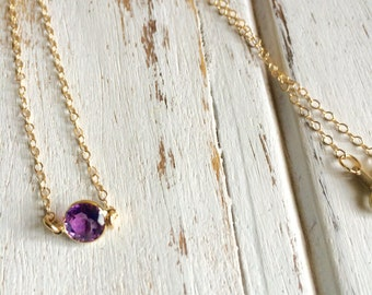 Stunning 14k Gold Amethyst (6mm) Cabochon Necklace ~ All Pieces are 14k Gold