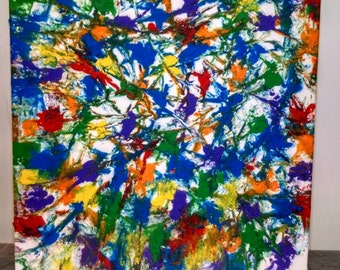 """Rainbow abstract on a 16""""x20"""" stretched canvas"""