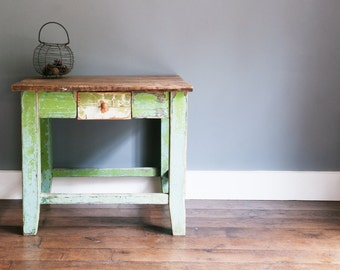 Green butchers block style table