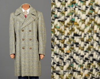 46 Vintage 70s Mens Tweed Overcoat Wool Winter Coat Double Breasted Belted Back Multicolor Plaid Stripe