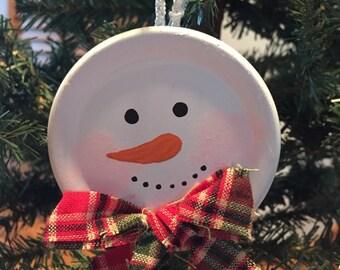 Canning Lid Snowman Ornament