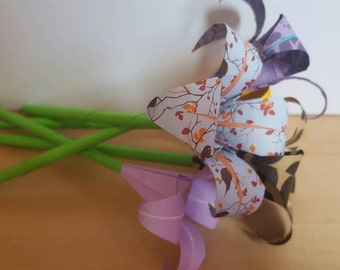 Origami Iris (5 flowers with stem)-free shipping