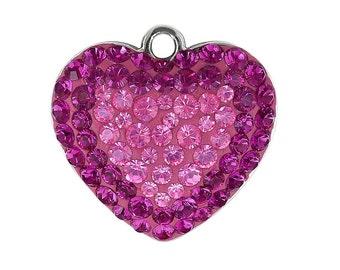 167412 Swarovski Crystal Pave Pendant Heart 14mm FUCHSIA & ROSE