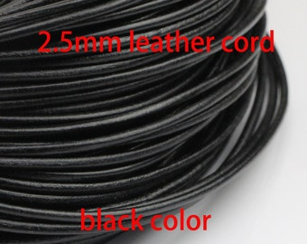 2.5mm leather cord,genuine leather string cord,real leather cord,black leather cord,black cord,1yard,5yard,10yard,50yardround leather cord