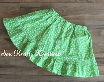 24months/2T - Green with Flower Print Skirt