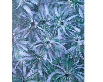 Dandelion-Abstract flower painting on canvaas