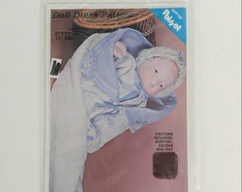 "Vintage 1983 Poissot DPP106 Bye-Lo 17"" Doll Dress Sewing Pattern Includes Bunting Sacque And Hat UNCUT"