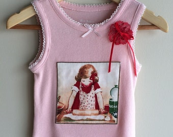 Cute girls top, size 1 , vintage style image.