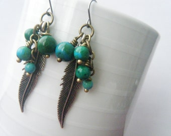 Boho earrings Turquoise earrings Boho feather jewelry Long gemstone earrings Mixed metals Silver feather Western jewelry Gypsy earrings