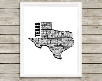 "Map of Texas, Typographic Map, Texas Map, Texas Cities Towns, Instant Download, Texas, Word Art, Wall Art, Typography, 8x10"", 11x14"", 16x20"""