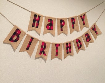 Buffalo Plaid Birthday Banner
