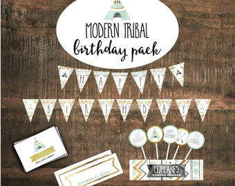 Birthday Party Package- Printable Decorations, Birthday Banner, Modern Tribal, Mint and Gold, Teepee, Arrows, Cupcake Toppers #14