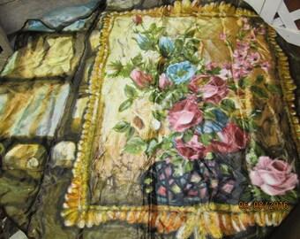 "Beautiful Vintage Rayon Ladies Scarf Japan Floral Wall Hanging Pink Blue Gold Bronze 30"" x 30"""