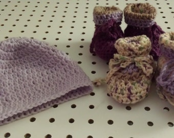 Crocheted Hat and Booties