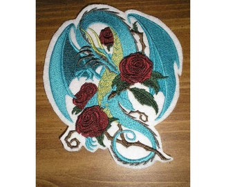 Embroidered Patch / applique - dragon and roses - ready made