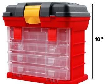 Universal Utility Tool Box Plastic Storage Chest 4 Divided Drawer Compartments