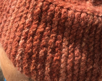 Handknit wool  hat from hand dyed, handspun yarn